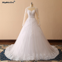 Ryanth Vestido De Noiva Ball Gown Long Sleeve Wedding Dresses Illusion Robe De Marriage Lace Applique Bridal Gown 2018 Trouwjurk
