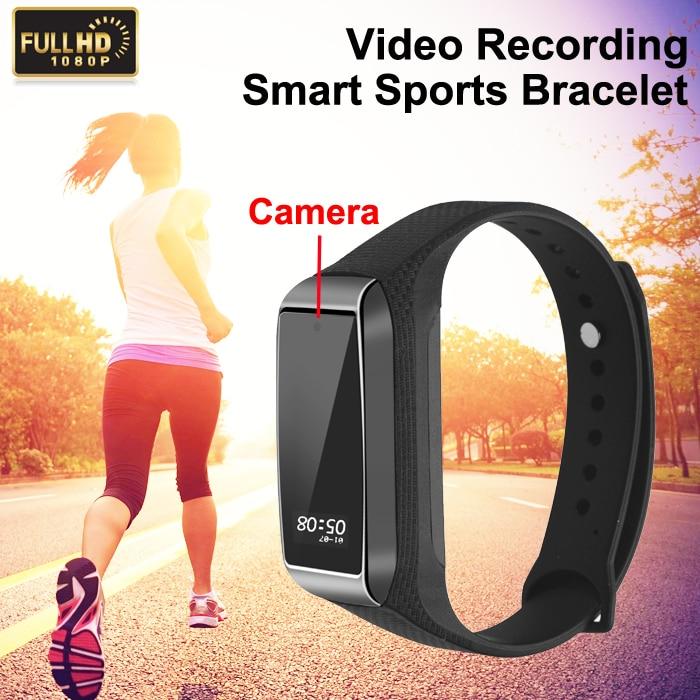 Bluetooth Fitness Tracker + HD Caméra Bracelet Bracelet Fonction Sport Numérique Cam Micro Mini Secret Montre Smart Watch Enregistreur Vocal