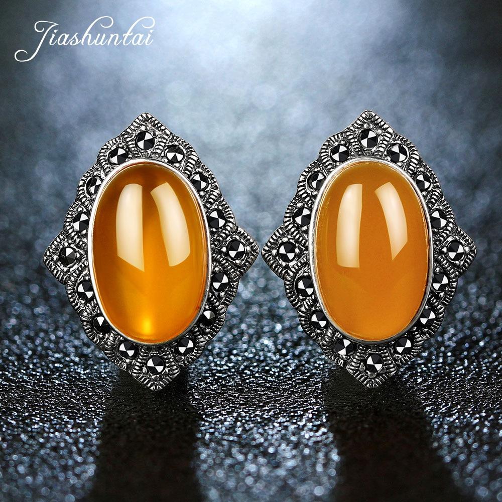 JIASHUNTAI Vintage 925 boucles d'oreilles en argent Sterling calcédoine naturelle Agate jaune pierre précieuse pour les femmes boucle d'oreille en argent bijoux fins