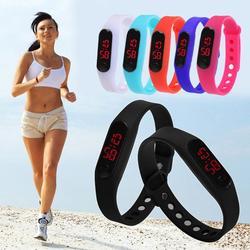Модные спортивные часы со светодиодным дисплеем, электронные цифровые часы для женщин, часы-браслет унисекс, мужские часы