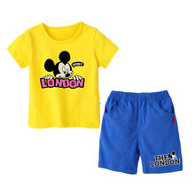 2019 Baby Boys Sets Summer Girl Sets Clothes Cartoon Mickey MouseT shirt+Short Pants Cotton Sports Letter Set Children Suit 1-9Y(China)