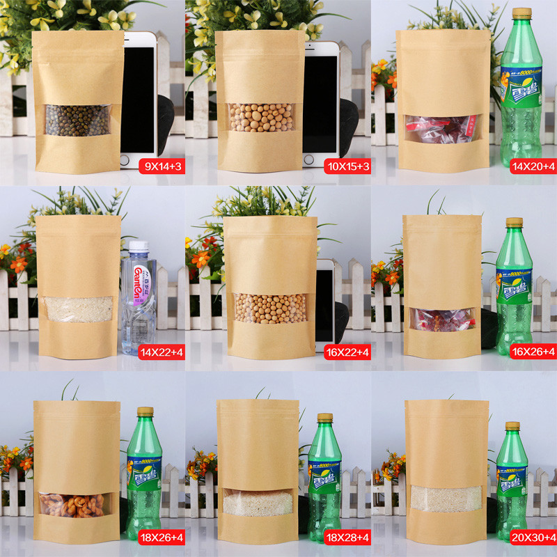 3.5x5.1 (9x13cm) Small Kraft Paper W/ Clear Window Stand Up Pack Package Bag for Food Coffee Storage Resealable Zip Lock Bag