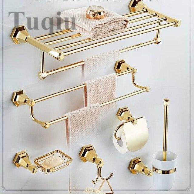 Free shipping all copper towel rack bathroom pendant rack bathroom hardware wall hanging golden bath towel rack