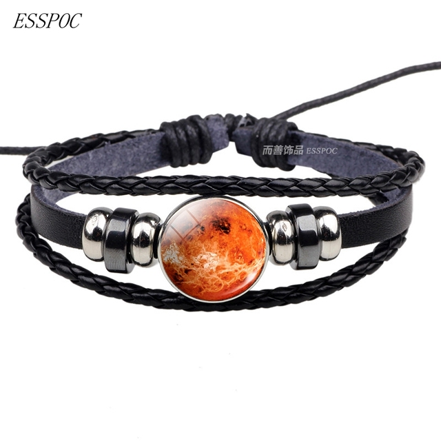 68d65a33f66f Venus de Galaxy universo espacio planeta Punk de cuero trenzado ...