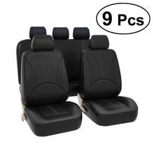9 pc luxo couro do plutônio auto universal tampas de assento de carro para o presente tampas de assento automotivo caber a maioria dos assentos de carro interiores à prova dwaterproof água a20