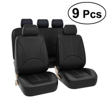9Pc Luxury Leather PU Auto Universal Car Seat Covers for gift Automotive Seat Covers Fit most car seats interiors Waterproof A20