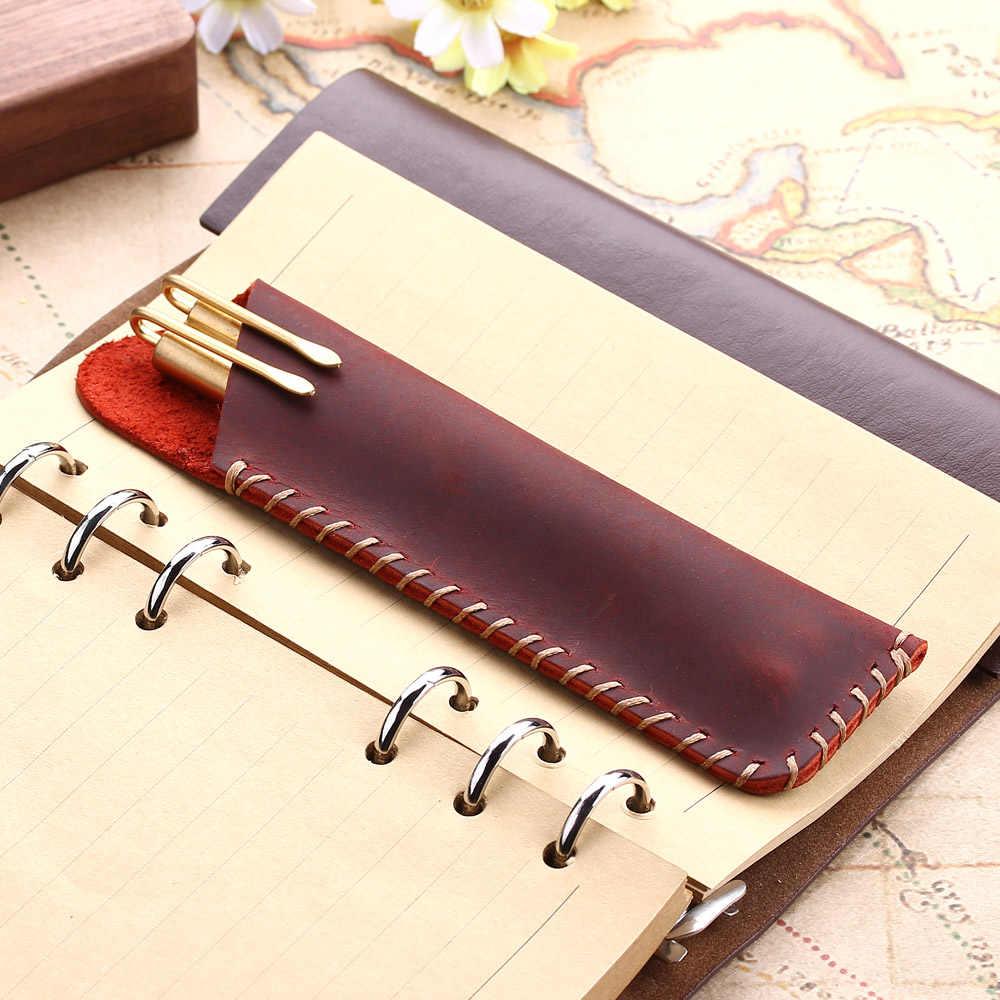 ريترو جلد طبيعي حقيبة أقلام رصاص ، اليدوية نافورة قلم رصاص وقلم وجاف حامل ، خمر نمط الملحقات الجلدية للسفر مجلة