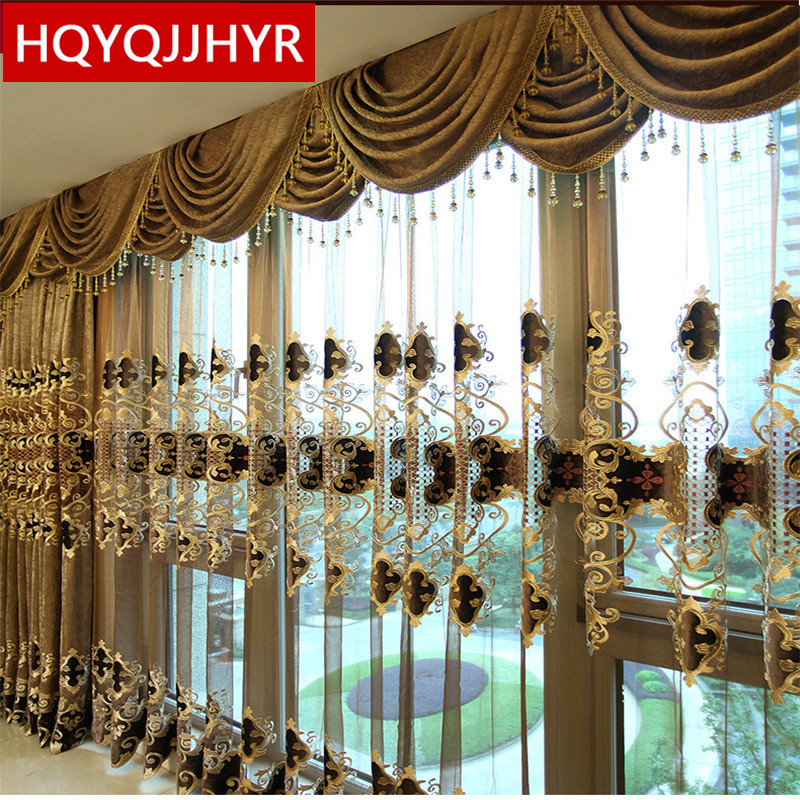 European luxury King Queen brown embroidered gold curtains for the living room with the sheer luxury hotels suitable for bedroom(China)