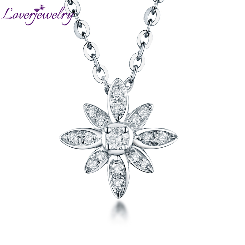 Lovely Good Diamond Pendant Necklace Real 18Kt White Gold Wholesale Fine Jewelry for Women Christmas Birthday Best Gift цена
