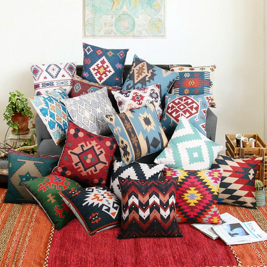 Cotton Linen Kilim Geometric Cushion Cover Bohemia Vintage Pillow Cover Sofa Chair Pillowcase Home Decorative 45*45cm For Sofa