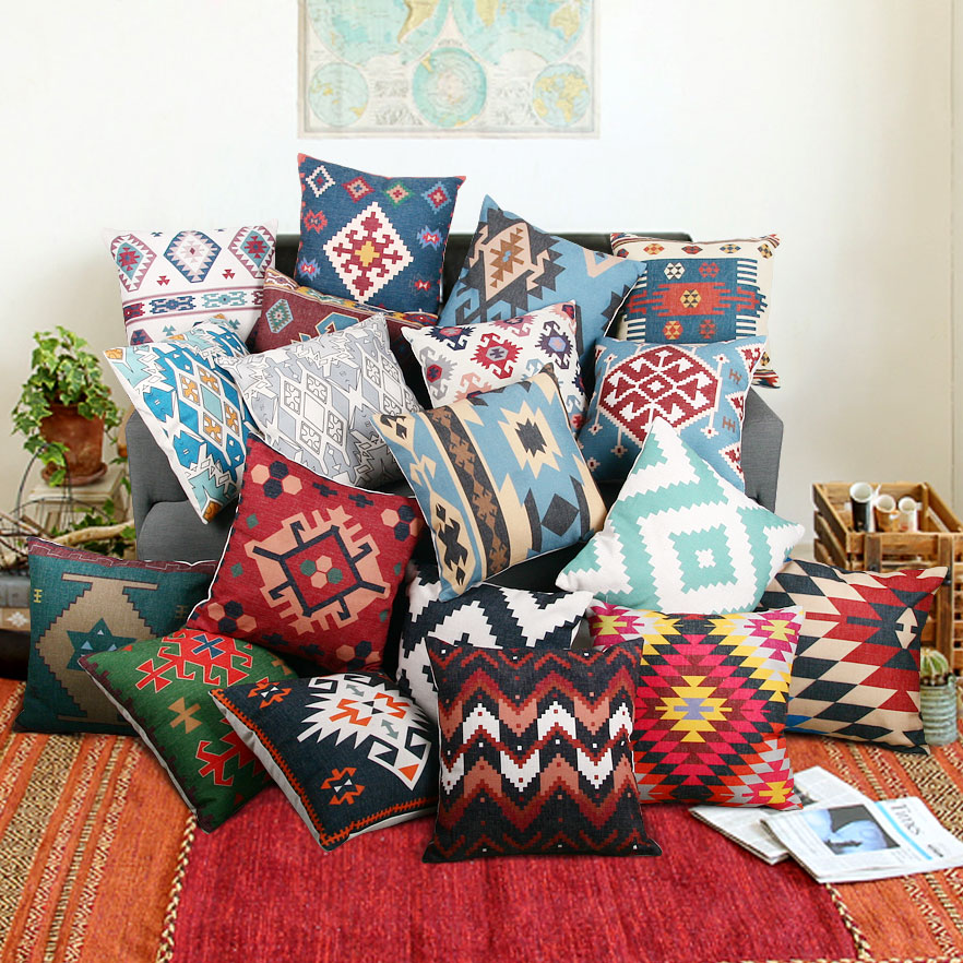 Cotton Linen Kilim Geometric Cushion Cover Bohemia Vintage Pillow Cover Sofa Chair Pillowcase Home Decorative 45*45cm For Sofa