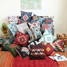 Funda de cojín de lino de algodón Kilim geométrica Bohemia Vintage almohada cubierta sofá silla almohada hogar decorativo 45*45cm para sofá