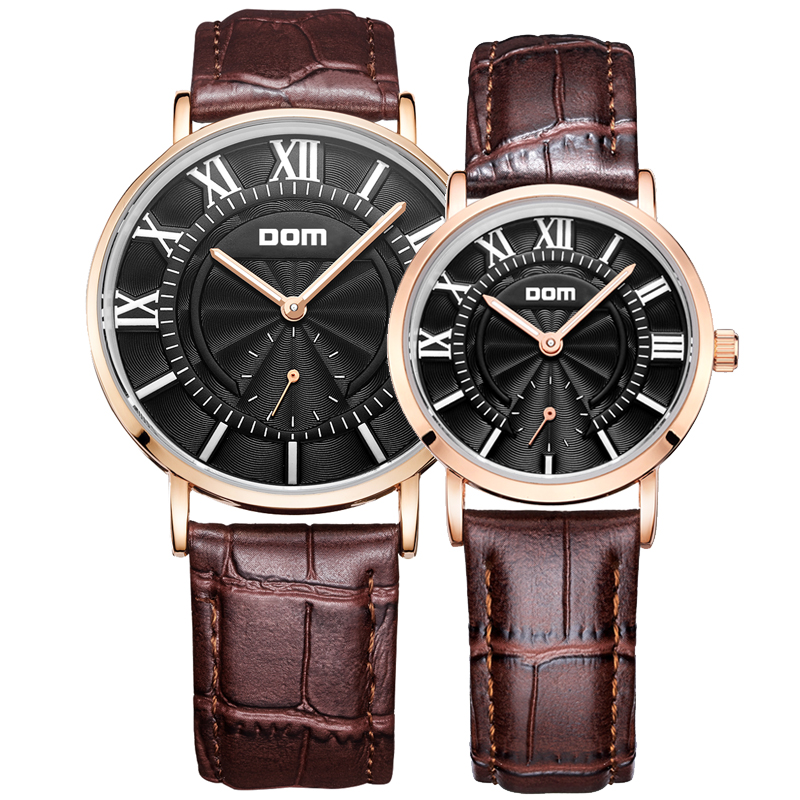 DOM lovers couple watches luxury brand waterproof style quartz leather watch M-3211+G-3211 бисер preciosa 5 г 544203 3211