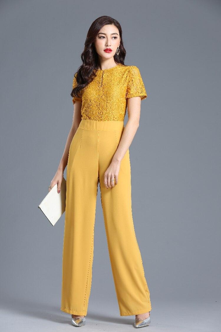 Lace Jumpsuit for Women 2019 Summer Party Overalls Short Sleeve Chiffon Bohemian Elegant Wide Leg Suit Plus Size 3XL 4XL