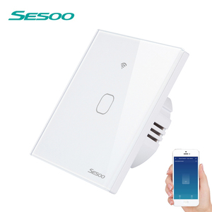 Image 1 - Interruptor de luz de pared inteligente SESOO Wifi 1 Gang aplicación remota hogar inteligente cambio de trabajo táctil de pared con Alexa / Google Home