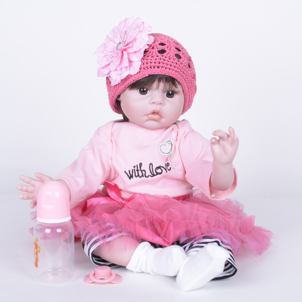 55cm Realistic Reborn Girl Doll Soft Silicone Lifelike Newborn Baby with Cloth Body Toy for Children Birthday Xmas Gift protective denim pu leather case cover stand for iphone 5c sky blue brown