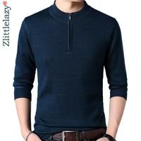 2019 zipper designer pullover soilid men sweater dress thick winter warm jersey knitted sweaters mens wear slim fit knitwear 178