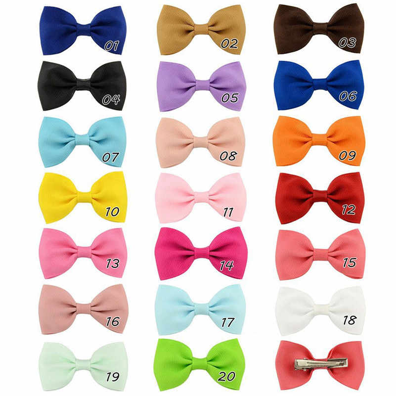 2,75 zoll Einfarbig Bogen Haar Clips Koreanische Nette Kleine Süße Ribbow Mädchen Kinder Haar Bögen Haarnadel Baby Haar Zubehör 20 farben