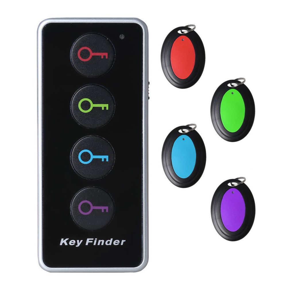 Wholesale 4-in-1 Remote Wireless Anti Lost Electronic Key Wallet Finder Lost Stuff Alarm Locator Transmitter Receiver Set sound activated 433 92mhz 1 to 1 wireless key finder blue black 1 x cr2032
