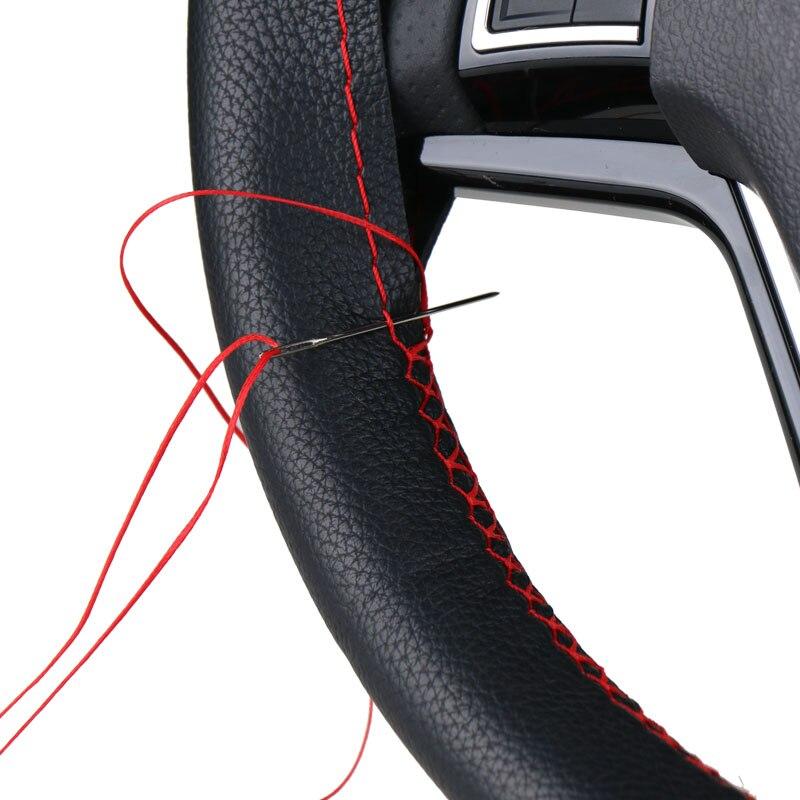 Cubiertas de volante DIY/trenza de cuero de fibra suave en el volante del coche con aguja e hilo accesorios interiores