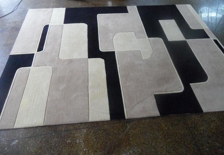Salon personnalisé table basse chambre moderne minimaliste étude en noir blanc mode Plaid fait main tapis acrylique alfombras - 3