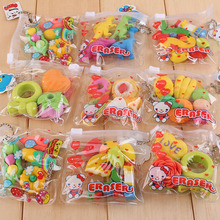 6PCS Creative Drawing Accessories Stationery Big Fruit Cuisine Shape Rubber Eraser Students Kids Educational Tools Toys