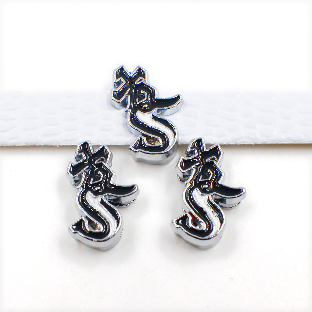 20PCS Chicago White Sox Alloy Enamel Charms 8MM Slide Charm Fit DIY Leather Bracelet Necklace Jewelry For Fans Accessories