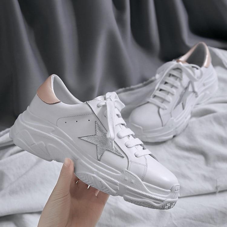 Deporte Casuales Vaca Plataforma Zapatillas Mujer Zapatos 2018 Moda Cómodos Nuevo Blanco Plana Cuero {zorssar} Genuino De 8w6nznqA
