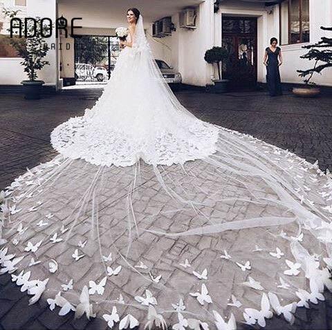 gorgeous largo 4 metros mariposa apliques catedral velos de novia