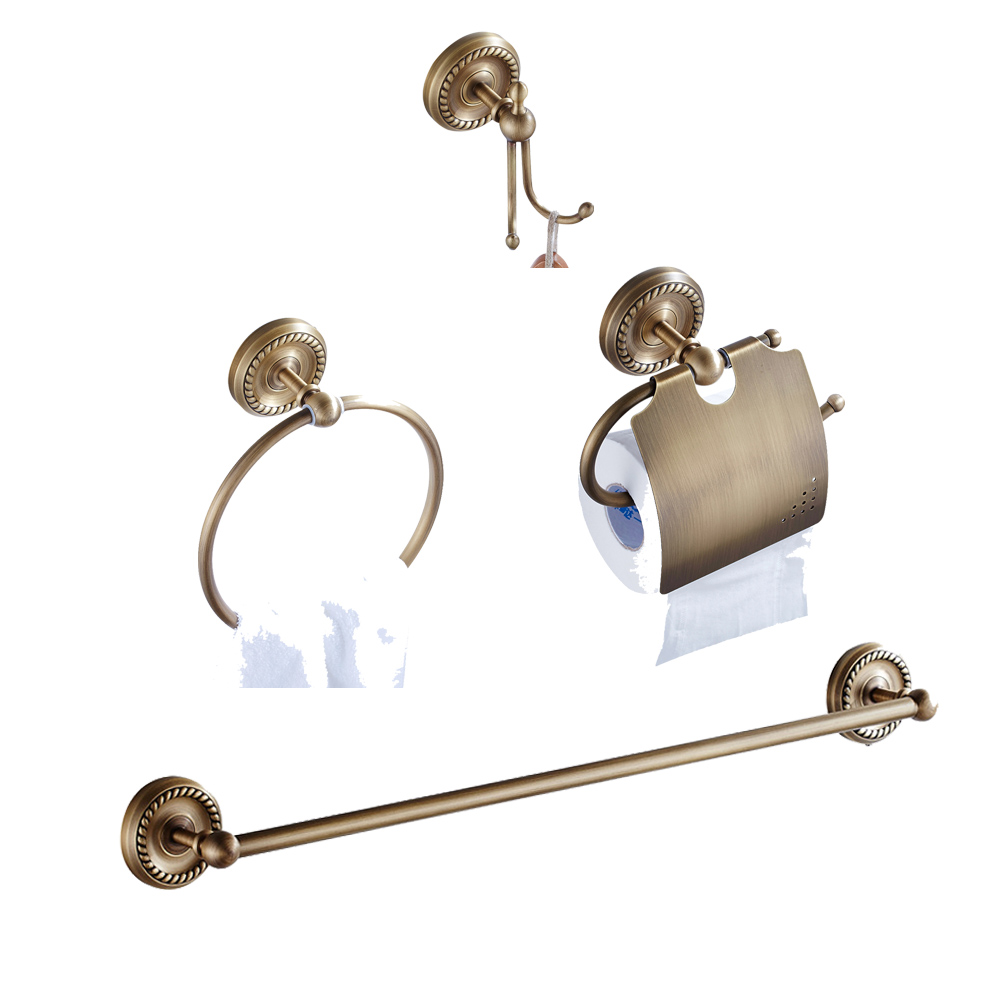 Leyden Antique Brass 4pcs Bath Hardware Sets Single Towel Bar Toilet Paper Holder Towel Ring Robe Hooks Bathroom Accessories Set y3698 retro napkin towel toilet paper bin basket holder antique brass