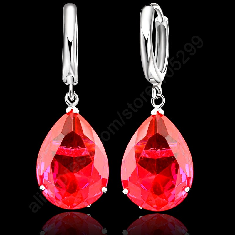 PATICO 6 Colors Option Elegant Water Drop Crystal 925 Sterling Silver Lever Back Woman Jewelry Earring For Wedding Engagement