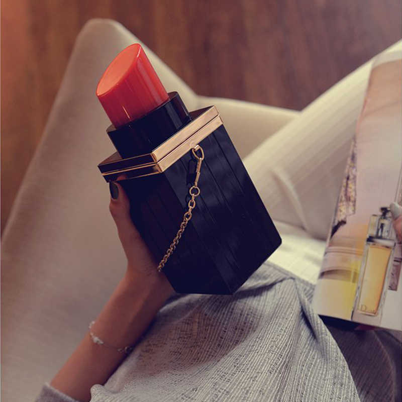 Индивидуальность черная Губная Помада Форма Дизайнер Acrylie Свадебная вечеринка клатч вечерние сумки модные женские сумки через плечо