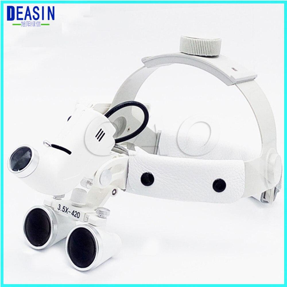 고품질 치과 외과 쌍안경 3.5x420mm 의료 돋보기 모든 작업 램프 외과 led 헤드 라이트 화이트-에서치아 미백부터 미용 & 건강 의  그룹 1