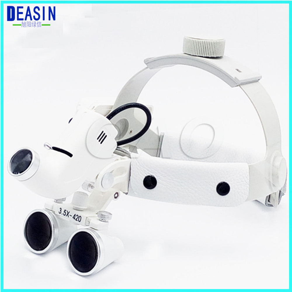 High Quality Dental Surgical Binocular 3.5 X 420mm Medical Magnifier All In Ones Operation Lamp Surgical LED Headlight White