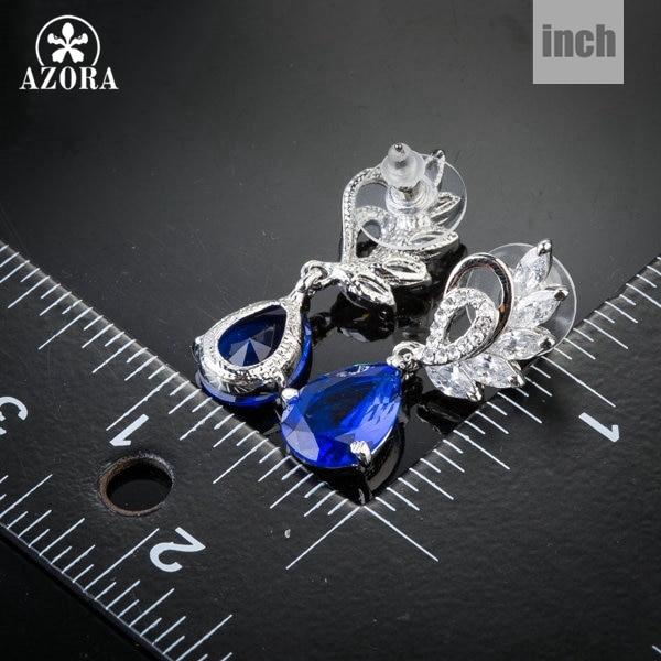 AZORA Κομψή σαφής και σκούρο μπλε χρώμα - Κοσμήματα μόδας - Φωτογραφία 3