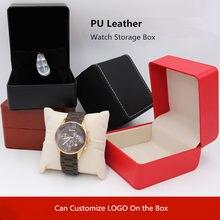 Из искусственной кожи коробка для хранения часов; черные однотонные механические упаковка для часов Чехол ювелирные изделия Для женщин подарок следите за Коробки W053