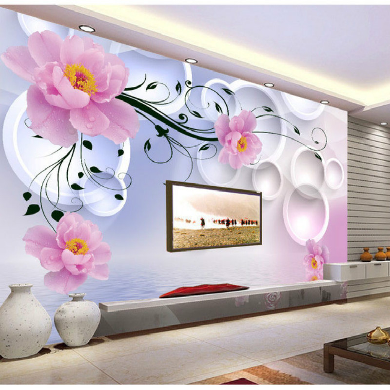 Fantasy Flowers 3D fashion large wall mural painting living room bedroom 3D wallpaper TV backdrop stereoscopic 3D wallpaper pink romantic sakura reflection large mural wallpaper living room bedroom wallpaper painting tv backdrop 3d wallpaper