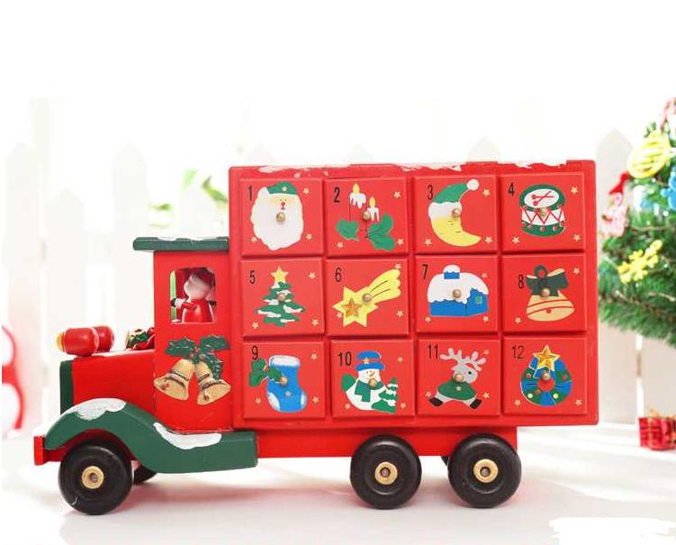 xmas truck with drawer xmas decoration creative wooden christmas truck candy storage for xmas calendar count down truck 3kg in party favors from home