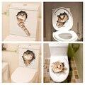 Gato vivo 3D rompió interruptor etiqueta de la pared de baño Kicthen decorativos calcomanías animales decoración cartel de arte Mural