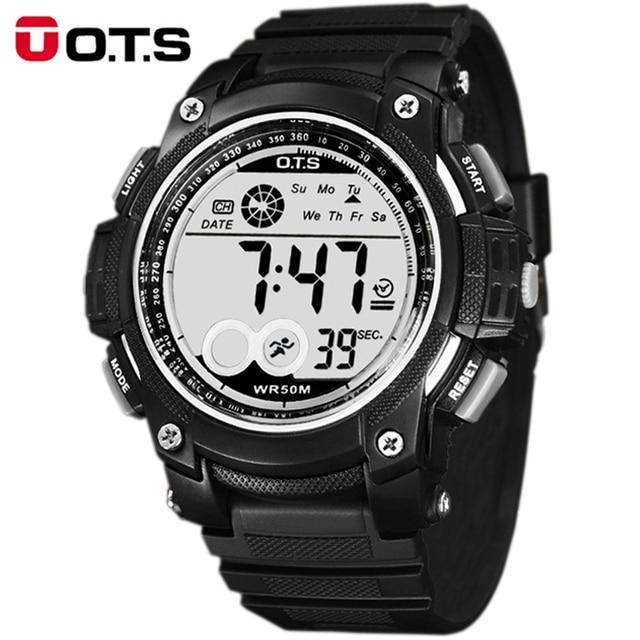 OTS digital-reloj Relojes Digitales hombres deportes 50 M Impermeable 55 MM gran dial horas militar relojes Luminosos 2016 moda