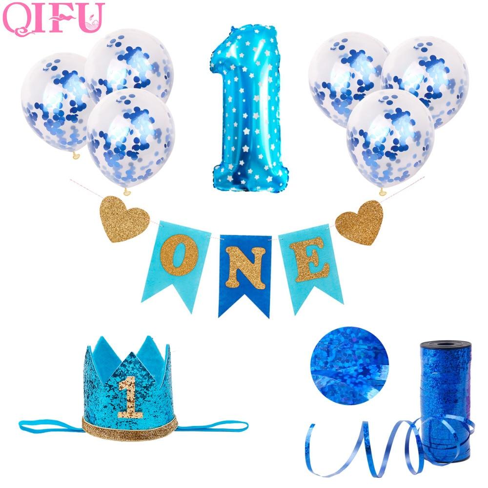 QIFU 1st birthday Boy Party Decor Foil Balloons Birthday Decorations Kids 1 Year