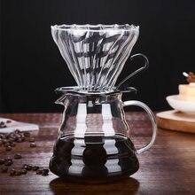 Server-Kettle Coffee-Percolators Dripper-Style Handle Milk-Tea-Pot Glass with 360ml/600ml
