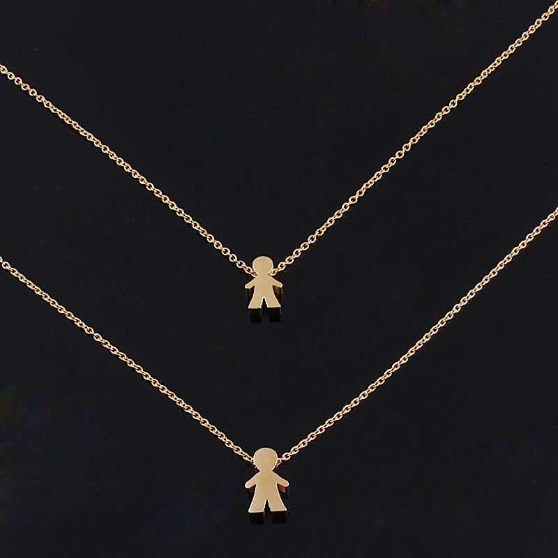 2016 Fashion Gold Plated Two Little Boys Best Friend Forever Pendnat Double Chain Statement Choker Necklace Jewelry Colar Bijoux