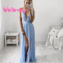 Wolovey#20 2017 New Style Sexy Women Summer Chiffon Sleeveless Boho Long Maxi Evening Party Beach Dress Elegant Refinement 0509