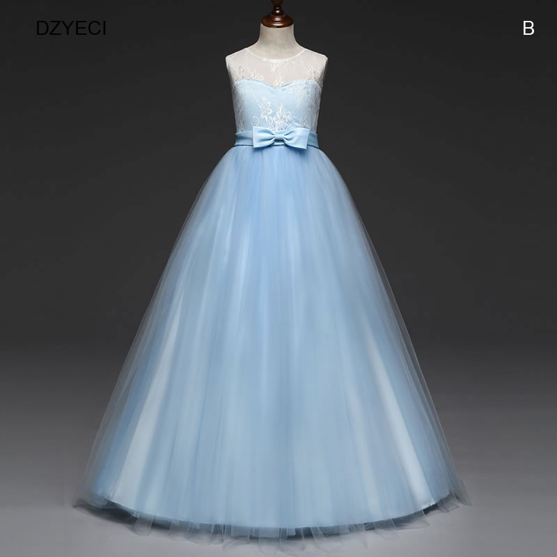 7c89ae61647 DZYECI Deguisement ado fille robe de bal Deguisement noel pour enfant fleur  noeud mariage Elza robe