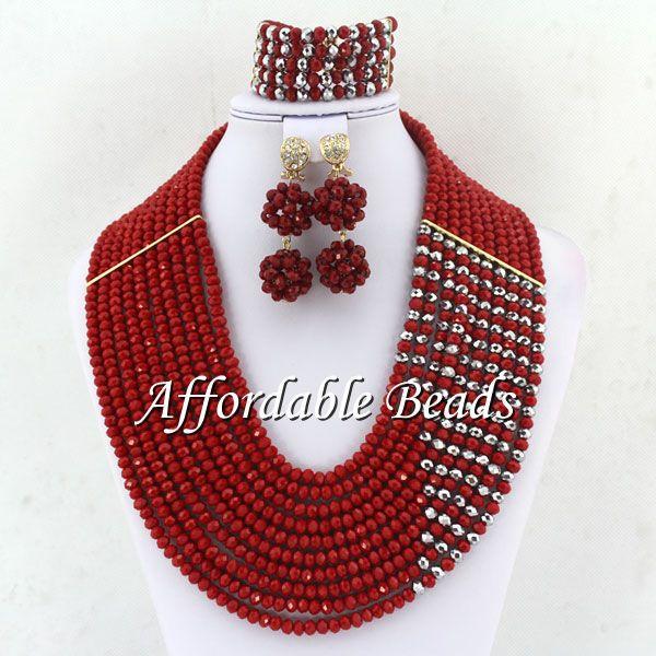 Free Shipping Fashion Beads Jewelry Set New Nigerian Beaded Jewelry Set Free Shipping ABE071