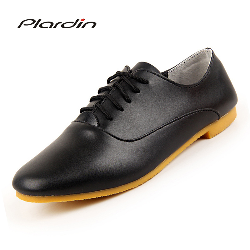 plardin 2017 Women Oxford Shoes Ballerina Sewing Flats Shoes Women Genuine Leather Shoes Moccasins Lace-up Loafers Casual Shoes
