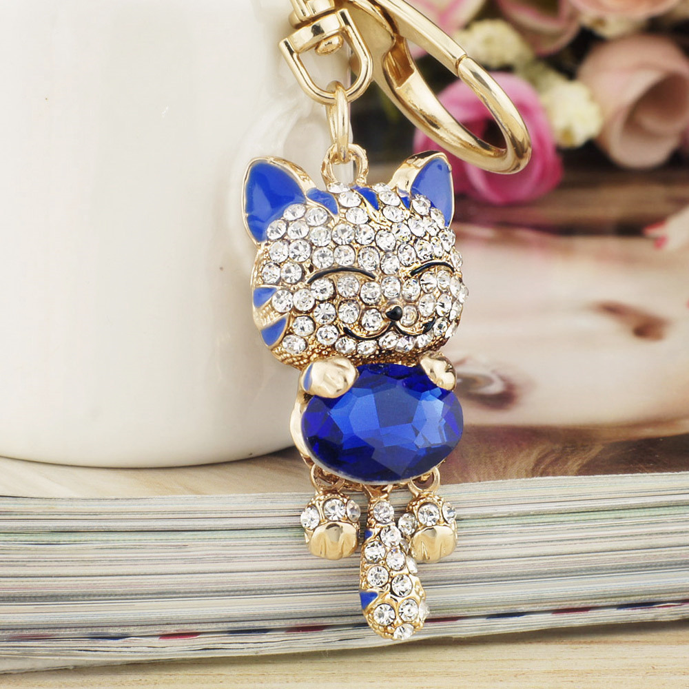 Lucky Smile Cat Crystal Rhinestone võtmehoidjad võtmehoidjad hoidja - Mood ehteid - Foto 3