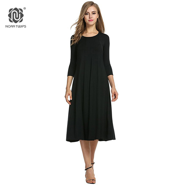 b562ebc5c5a 2018 Women Cotton And Linen Vintage Dress Casual Loose Solid Long Draped  Dresses Plus Size 2XL 3XL Large Size Party Dresses -in Dresses from Women s  ...