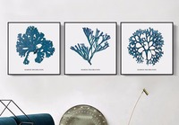 3 Pieces Nordic Minimalist Style Marine Coral Decoration Without Borders Canvas Paintings
